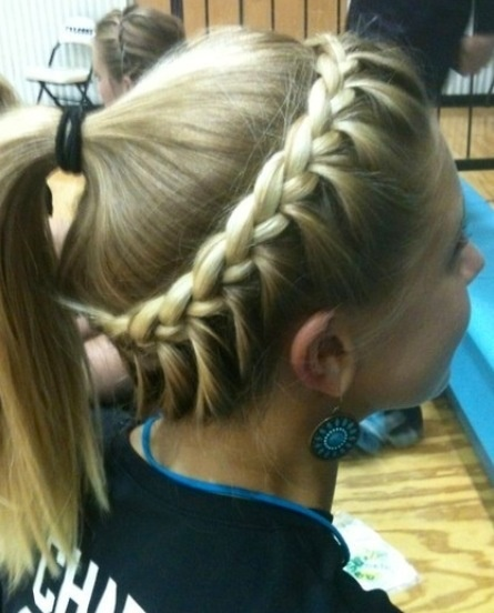 Lace braid into ponytail
