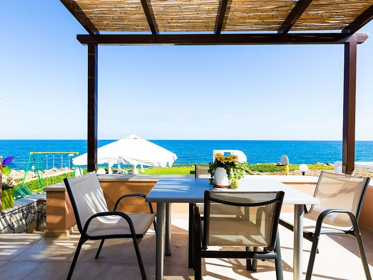 Panormos house rental - Private balcony with shaded dining area.