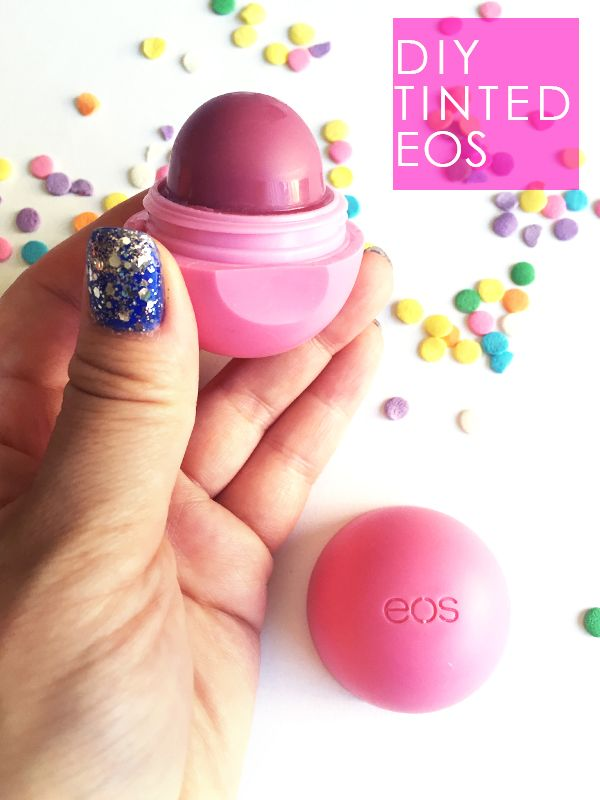 Try this DIY tinted EOS lip balm tutorial. This is perfect if you have worn down your EOS and you have some leftover lipstick to spare.