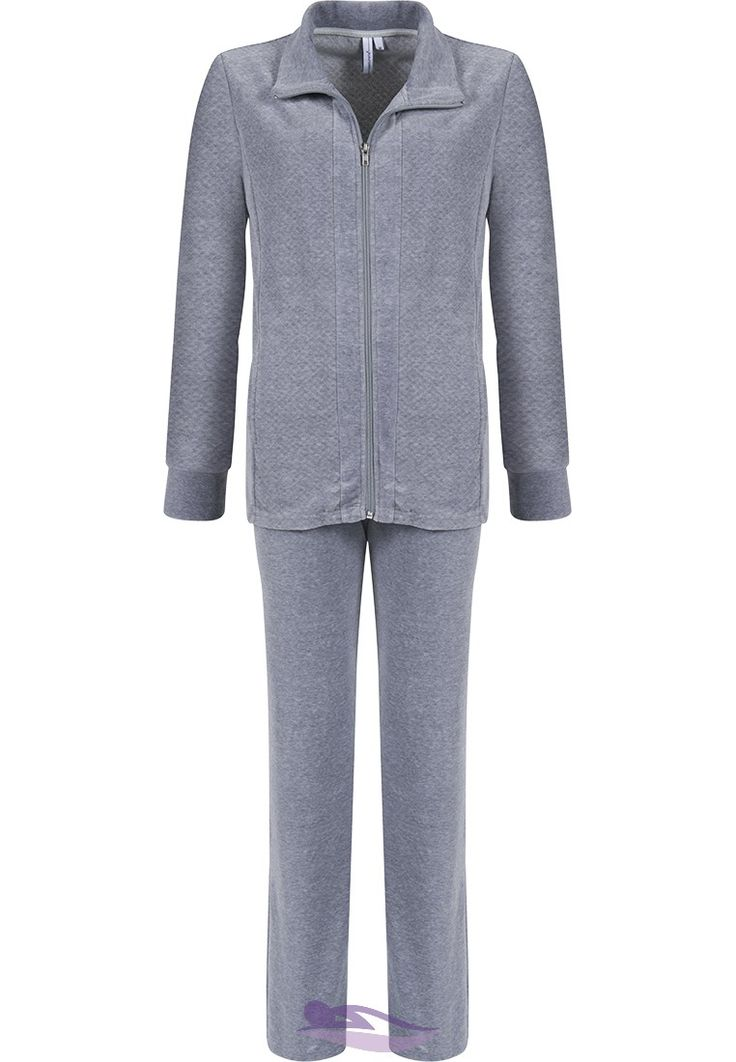 You can relax in style & comfort around the home in this Pastunette 'soft quilted style' grey velvet homesuit