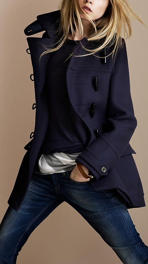 Burberry - REGIMENTAL WOOL DUFFLE COAT- I love peacoats and I love navy!Duffle Coats, Fashion, Navy Coats, Style, Burberry Coats, Blue, Jackets, The Navy, Winter Coats
