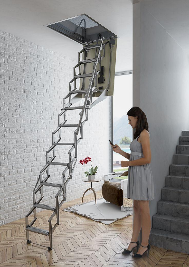 escalera plegable y automtica para techo modelo flexa automtica escaleras enescaes