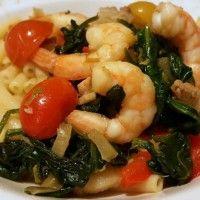 Pasta met pittige spinazie en reuze garnalen : Recepten van Domy