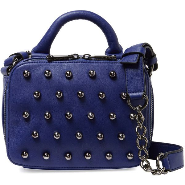 French Connection Vinny Studded Crossbody found on Polyvore featuring bags, handbags, shoulder bags, blue, studded crossbody, studded purse, crossbody purse, faux leather crossbody and blue crossbody