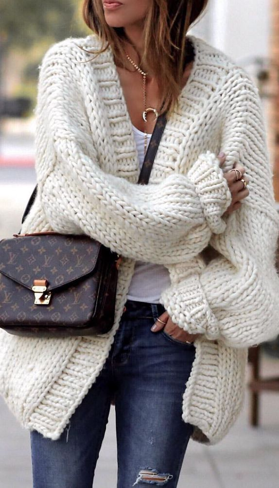 white cozy cardigan
