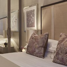 We designed the colour palette of this bedroom in our Knightsbridge project around these spectacular silk velvet hand printed cushions.. Pic...