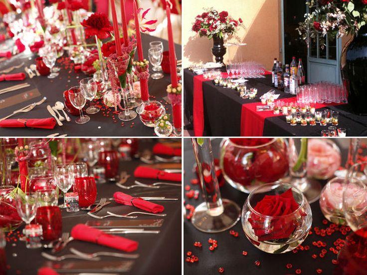Un mariage en rouge et noir par mission mariage id es for Deco table rose et noir