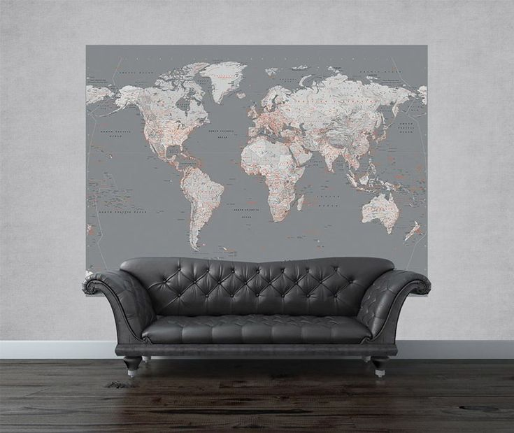 Mapa świata - srebrna - fototapeta   Sklep ePlakaty.pl