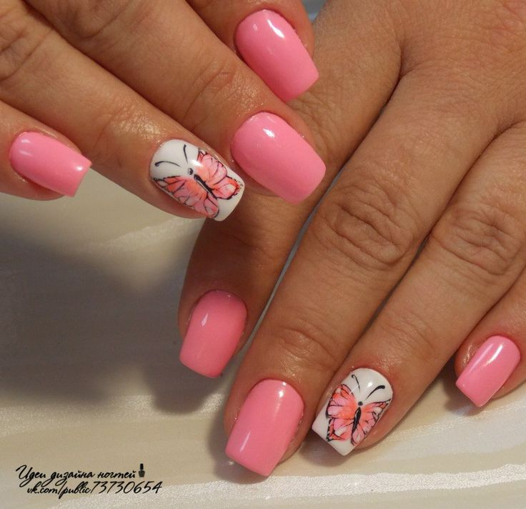 Beautiful nails 2016, Beautiful summer nails, Butterfly nail art, Manicure by summer dress, Nails with stickers, Pink dress nails, Pink manicure ideas, ring finger nails