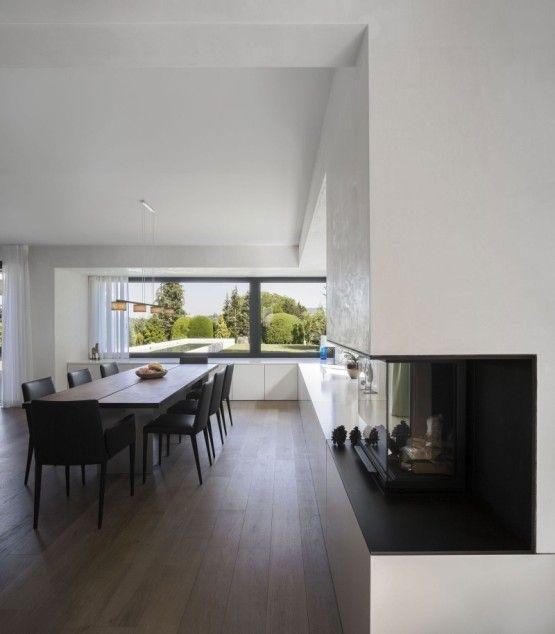 striking dining room interior design ideas with wooden flooring with white interior design plan applied in haus von arx