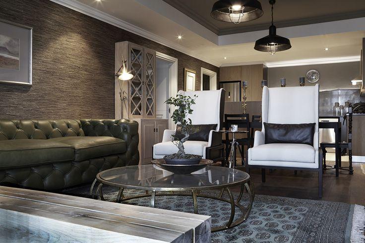 Gentlemen | Dining | Lounge | Kitchen | Wallpaper | Texture | Green Chesterfield | Oak | Dusted moss | Copper table | Apartment | Interior design | Etienne Hanekom Interiors