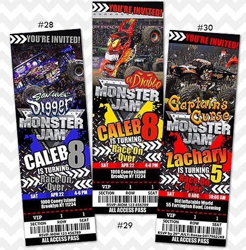Monster Jam Invitation Grave Digger Invites