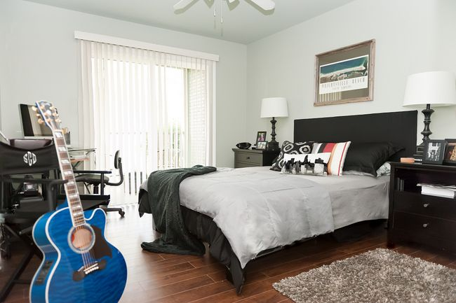 The Decorologist, contemporary bedroom design - Benjamin Moore Gray Wisp, all men love it!