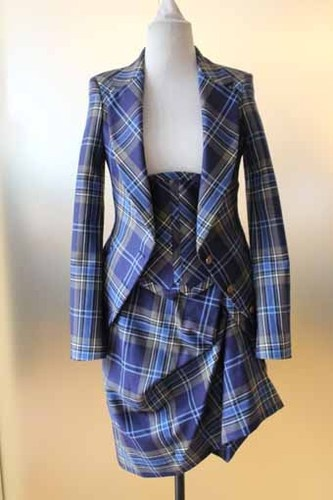 Vivienne Westwood - Ladies 3 piece Blue Tartan Suit- I don't think I can pull off the plaid but I like the 3 piece