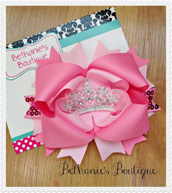 Pink Rhinstone Princess Bow OTT bow Stacked by BethaniesBowtique, $10.00