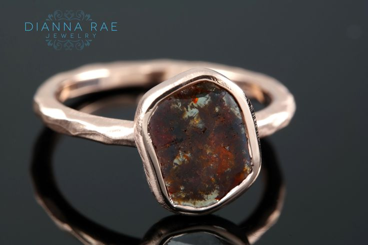 Rose Gold Engagement Ring with Diamond Slice Organic Collection Hammered Satin Finish