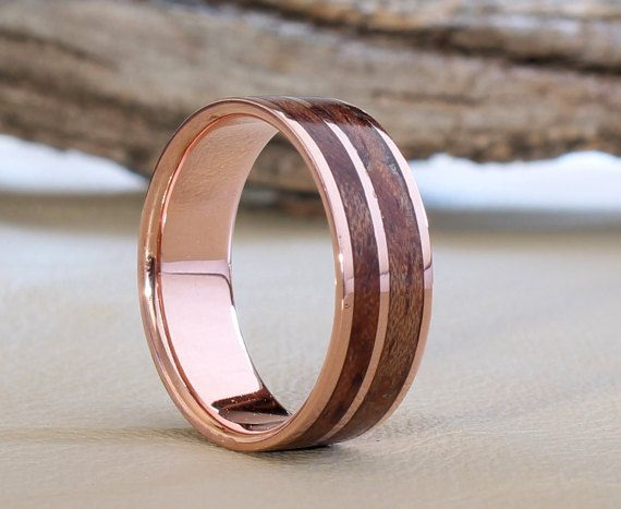 copper ring with waterfall bubinga inlay by