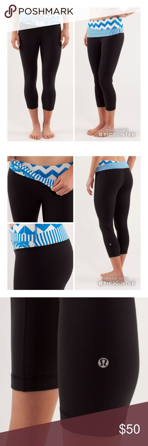 Lululemon Astro Wunder Under Crop 8 Lululemon Astro Wunder Under Crop size 8 like new condition! Black with beaming blue pattern waist that can be rolled up or down as pictured to change look of pants. Has attached tag and inner waist pocket! Feel free to make me an off 😊 lululemon athletica Pants