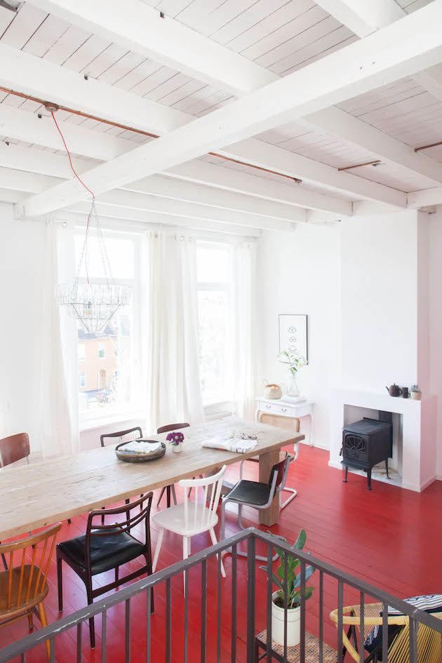 A Dutch guest house in The Hague with red floors and vintage touches