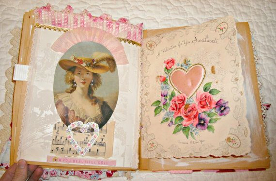 Altered Valentine's Day Book  Vintage by LittleBohoCottage on Etsy