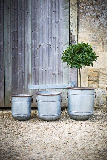 Add a touch of rustic charm to your garden or patio with this trio of planters. Fill with a mixture of herbs or your favourite annuals to create a stunning display.