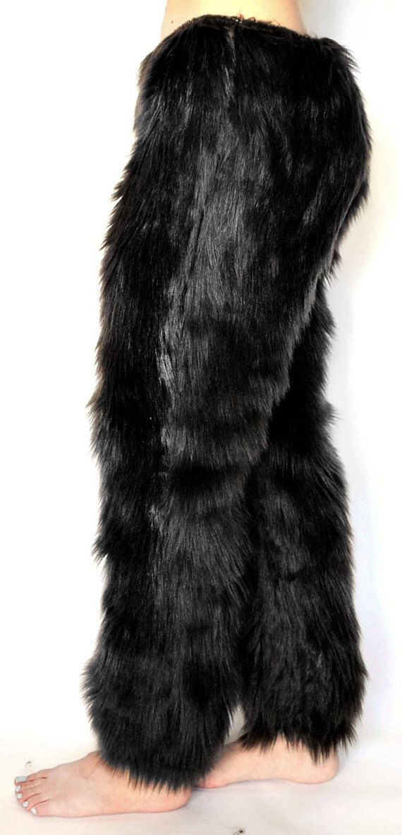 Black fur pants for men and women - so cozy to lounge in, and a stand-out addition to costumes! Handmade to order. Custom sizing included.