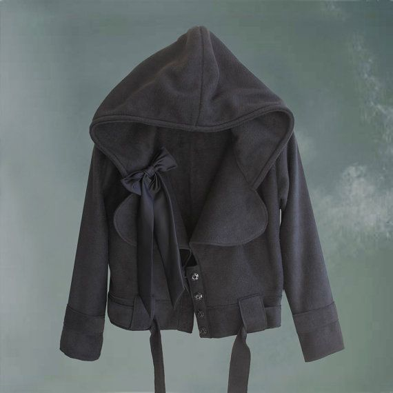Womens jacket hoody black crop bow outerwear by by tratgirl55, $99.99