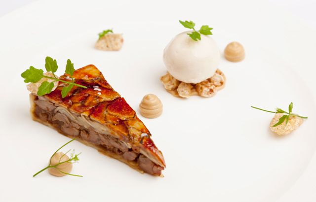 George Blogg's inventive pig cheek recipe presents this undervalued cut of meat in a gourmet tart, serving with a cheeky scoop of pear sorbet