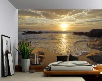 Summer Deck Sunset Ocean Beach – Large Wall Mural, Self-adhesive Vinyl Wallpaper, Peel & Stick fabric wall decal