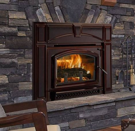 Quadra-Fire Voyageur Grand Wood Fireplace Insert With Mahogany Finish | Fine's Gas