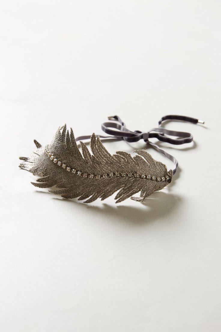 Embroidered Silk Feather Headband