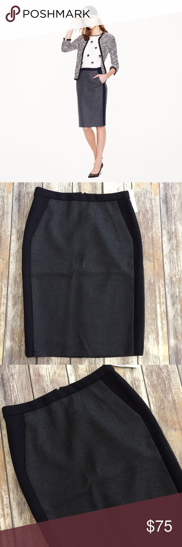 """NWT J Crew No 2 Pencil Skirt with Pockets Brand new with tags J Crew """"No 2 Pencil Skirt in Tipped Double Surge Wool"""". Gray and very dark navy blue. Front pockets. Fully lined. Back Zip. Approximate length is 23.5"""". ⚓No trades or holds. I negotiate only through the offer button. Any measurements listed are approximate since I am not a seamstress. HB J. Crew Skirts Midi"""