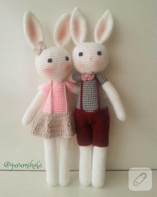 Amigurumi örgü tavşan uyku arkadaşı, pamuklu doğal iple örülmüş, 30 derecede makinede yıkanabilir. amigurumi oyuncak şemaları, el örgüsü ve tığ işi bebek modelleri 10marifet.org'da