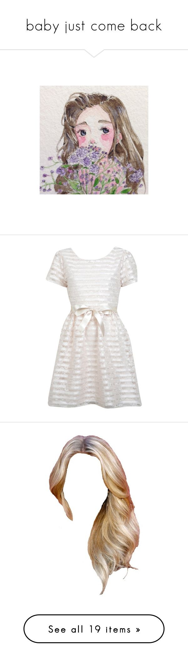 baby just come back by rachel-rentz on Polyvore featuring polyvore, backgrounds, girls, images, pastel pictures, pictures, women's fashion, clothing, dresses, miss selfridge, cream, ribbon dress, miss selfridge dress, striped dress, striped prom dress, hair, doll parts, dolls, wigs, doll hair, beauty products, fillers, accessories, beauty, fillers - pink, pink, outerwear, coats, jackets, coats & jackets, beige coat, mango coat, books, magazine, tops, t-shirts, shirts, crop tops, blusas…