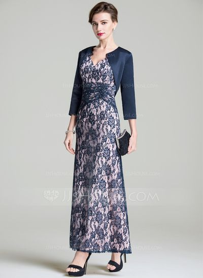 A-Line/Princess V-neck Ankle-Length Ruffle Zipper Up Sleeves 3/4 Sleeves Yes 2016 Dark Navy Spring Fall Winter General Plus Lace Mother of the Bride Dress