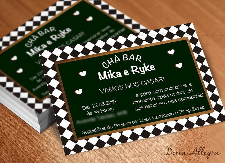 Convite Chá Bar - Lousa Quadriculado