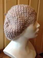 Hand Knit Beret Chunky Hat in Pearl Grey, Wool, Alpaca, Womens