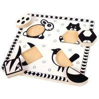 zwart wit puzzel ekster - bigjigs