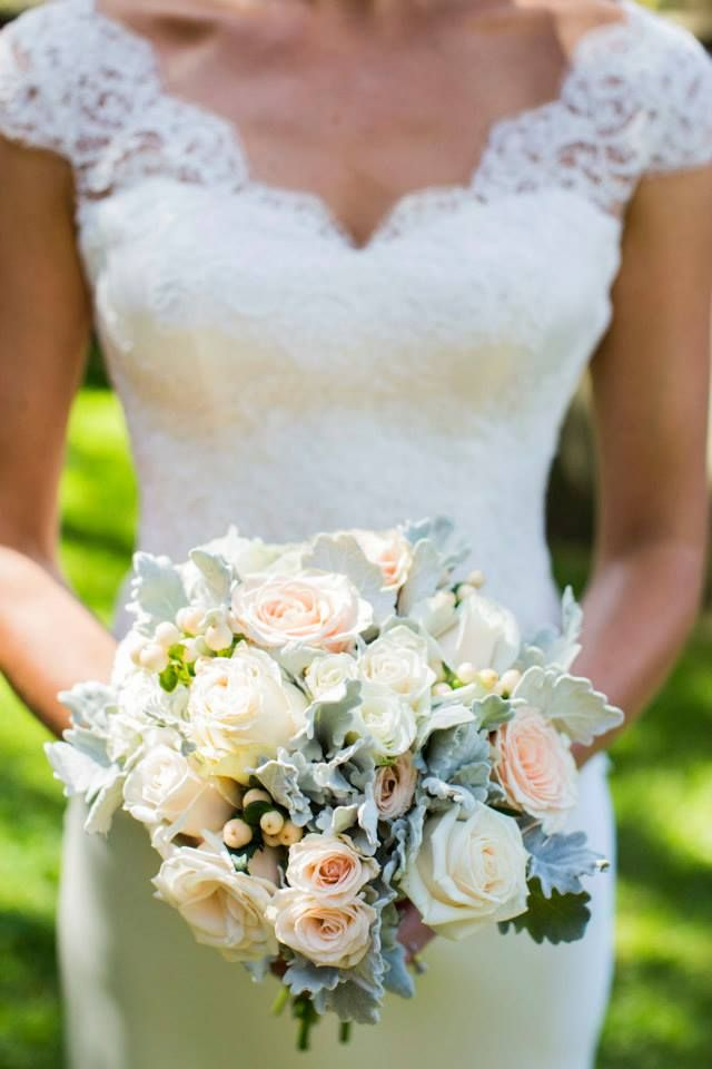 Bridal bouquet, white, peach, dusty miller, roses. www.madisoninbloom.com.au
