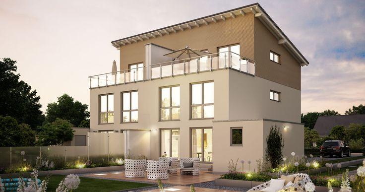 Massivhaus Kern-Haus Doppelhaus View Gartenseite
