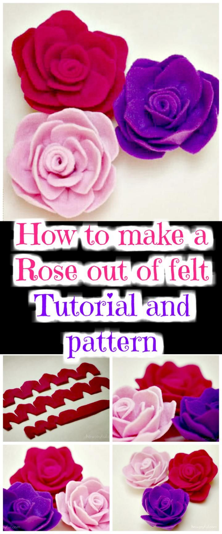 How to make a Rose Out of Felt – Tutorial and Pattern - 50 Easy Fabric Flowers Tutorial - Make Your Own Fabric Flowers - DIY & Crafts