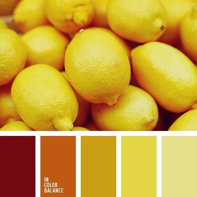 amarillo azafranado, amarillo oscuro, amarillo soleado, anaranjado oscuro, color amarillo limón, color de limones, color verde limón, marrón rojizo, matices de limones, paleta del color amarillo monocromática, paleta monocromática, selección de colores para el hogar, tonos