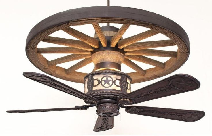 A Rustic Lighting and Fans exclusive! The Copper Canyon Sheridan Wagon Wheel Ceiling Fan feature a molded and hand painted resin wagon wheel...