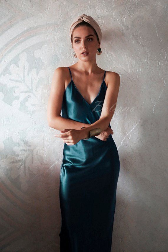08754be2437e2 Teal Silk Slip Dress Midi/ Natural Silk Gown Long/ Silk Midi Slip Green  Blue/ Thin Straps Bias 90s d