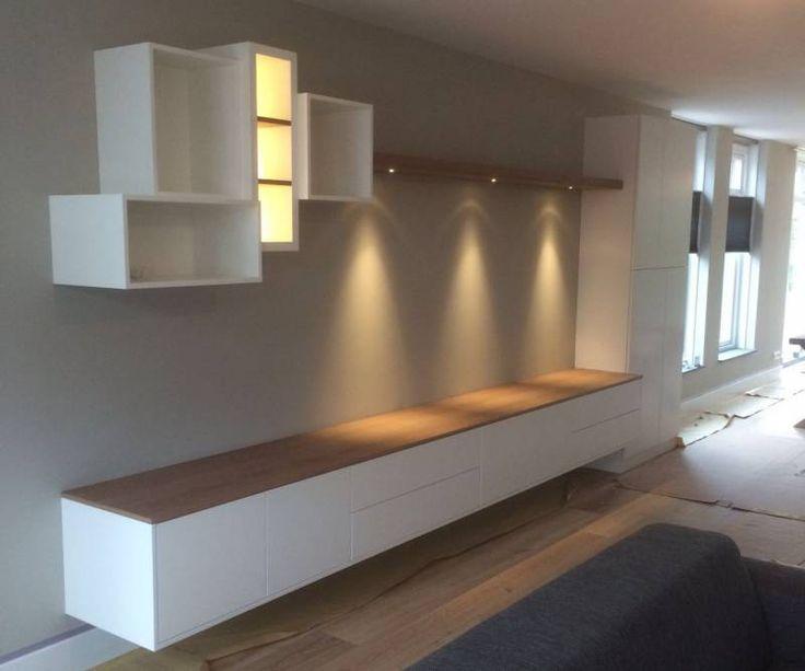 Tv dressoir wandkast eikenhout wit LED spots  Te Boveldt