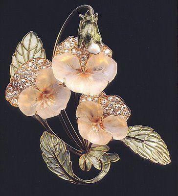 Rene Lalique -- Art Nouveau Floral Brooch