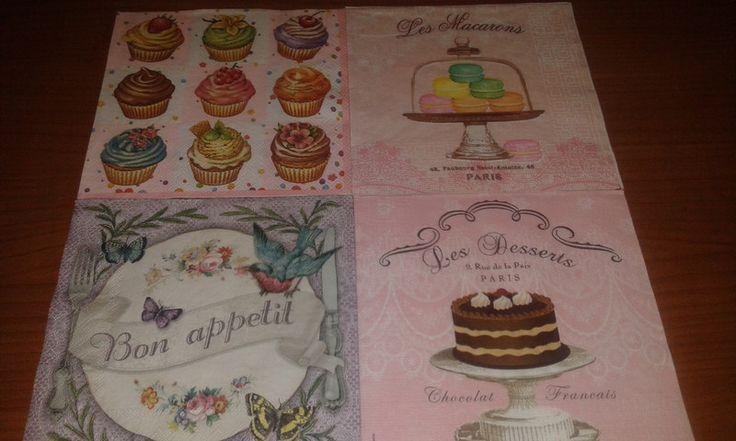 Tovaglioli per decoupage - 4 tovaglioli decoupage cupcakes dolci bomboniere - un prodotto unico di danif5 su DaWanda