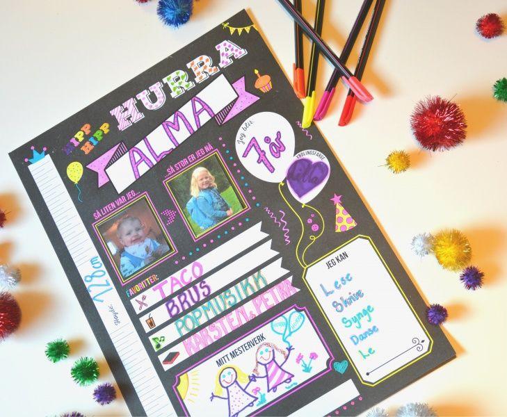 Hipp Hurra bursdagsplakat er vårt nyeste Kos med Kaos produkt.Bursdag,e tt nytt år er unnagjort, nye milepæler passert, ett år eldre.Dagen er stor stas, både for barnet,