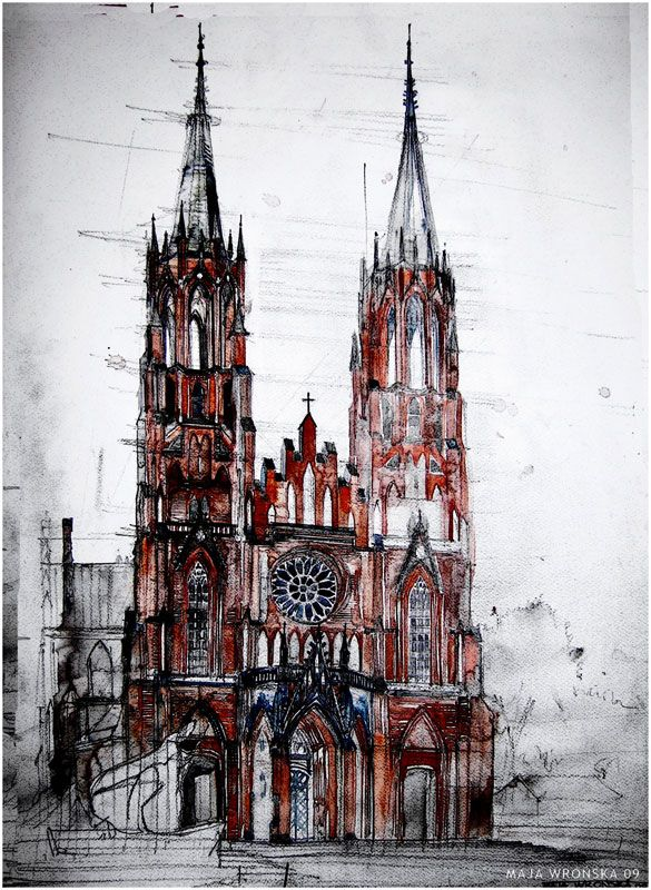 Watercolor Cityscapes by Maja Wronska Gothic Church in Poland