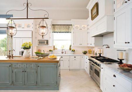 Green island, butcher lock top: Cabinets Colors, Butcher Blocks, Lights Fixtures, Kitchens Ideas, Kitchens Islands, Blue Kitchens, Country Kitchens, White Cabinets, White Kitchens